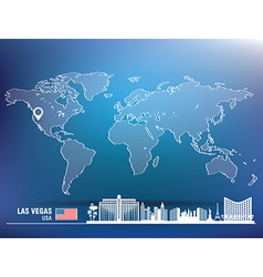 Map pin with las vegas skyline vector