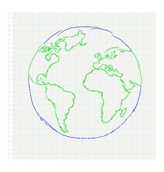 Childs drawing of the planet earth on a notepad le vector