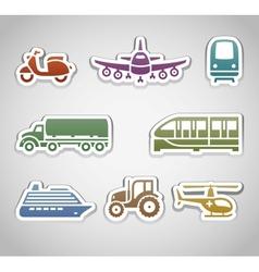 Flat retro color stickers - set six vector