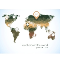 World map in polygonal style vector