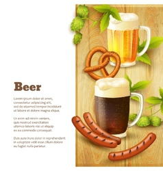 Beer and snacks border vector