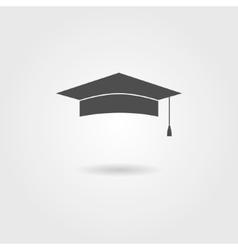 Graduation cap with shadow vector