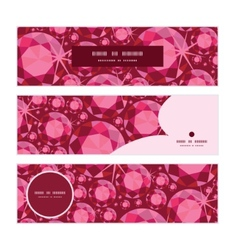 Ruby horizontal banners set pattern background vector