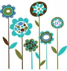 Cute retro flowers vector