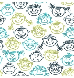Seamless pattern of baby cartoon faces vector