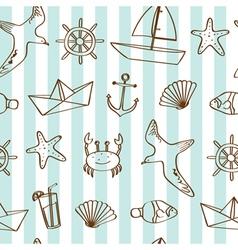 Cute nautical background vector