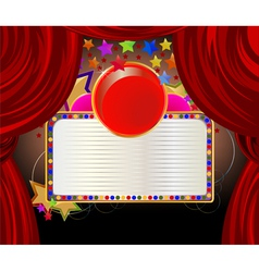 Red curtains and a forum for the text font vector