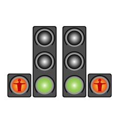 Red pedestrian traffic lights vector