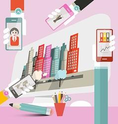 Woman - girl work interface - web deign template - vector