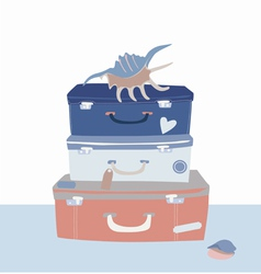 Voyage suitcases and cockleshells vector