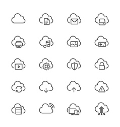 Cloud computing thin icons vector