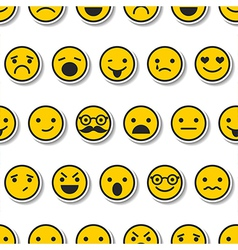 Seamless pattern with color emoticons characters vector