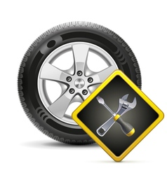 Wheel and sign vector