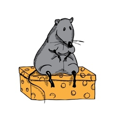 Cute fat cartoon rat on a piece of cheese vector