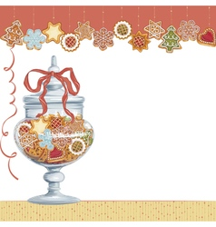 Christmas cookies in glass vase vector