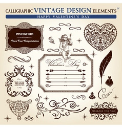 Calligraphic elements vintage ornament set happy v vector