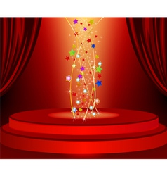 Red curtains and red marquee in the background vector
