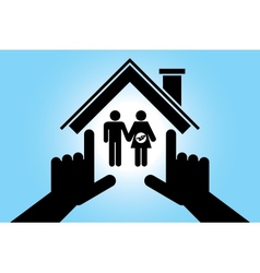 Man and pregnant woman in the house vector