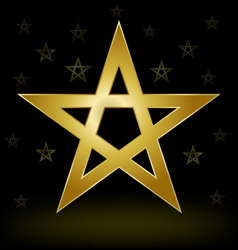 Gold pentagram vector