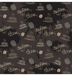 Coffe timeseamless pattern with thematic elements vector