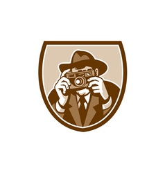 Photographer shooting camera shield retro vector