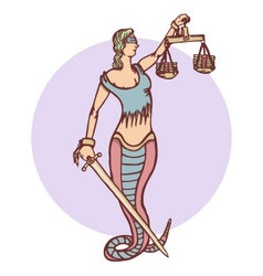 Isolated cartoon evil snake lady justice vector