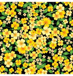 Abstract yellow seamless spring floral ornament on vector