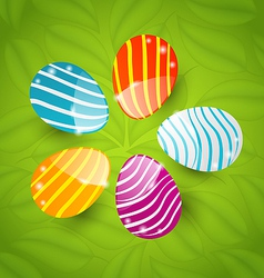 Easter set colorful ornamental eggs on green vector