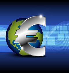 Icon euro money with globe vector
