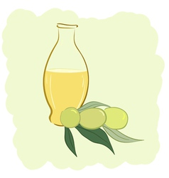Small bottle of olive oil and two olives vector