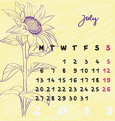 July 2015 flowers vector