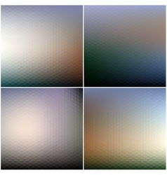 Abstract blurred hexagonal backgrounds set vector