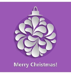 Christmas background with paper herringbone ball vector