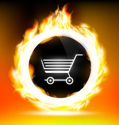 Button with shopping cart and red flames vector