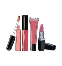 Cosmetics for lips - some lip gloss and lipstick vector