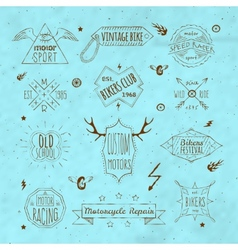 Biker retro emblem collection vector