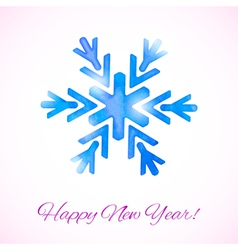 Card with watercolor snowflake vector