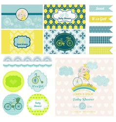 Baby shower bunny and bike party set vector