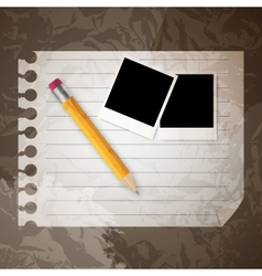 Yellow wooden pencil on a blank notepad on b vector