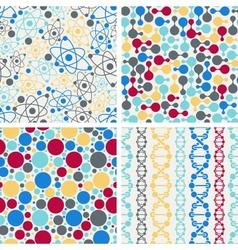 Molecular structure seamless patterns vector