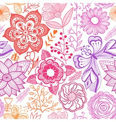 Seamless rainbow floral background copy that vector