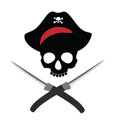 Pirate skull wit crossed daggers vector