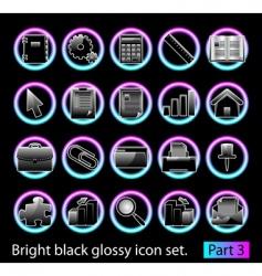 Black glossy icon set 3 vector