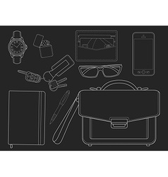 Every day carry man items businessman chalkboard vector