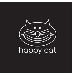 Happy cat with sausage design template vector