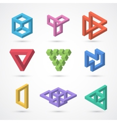 Colorful impossible shapes elements vector