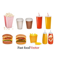Big group of fast food product vector