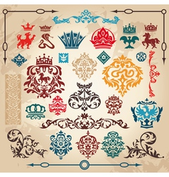 Vintage heraldry elements vector