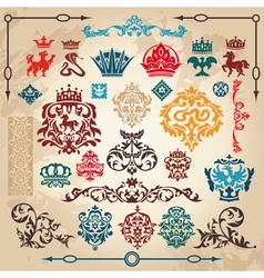 Vintage heraldry elements vector
