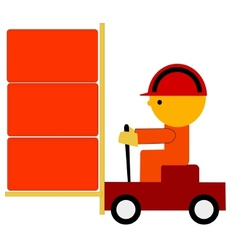 Worker on trolley vector
